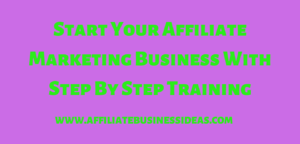Start Affiliate Marketing Business With Step By Step Training