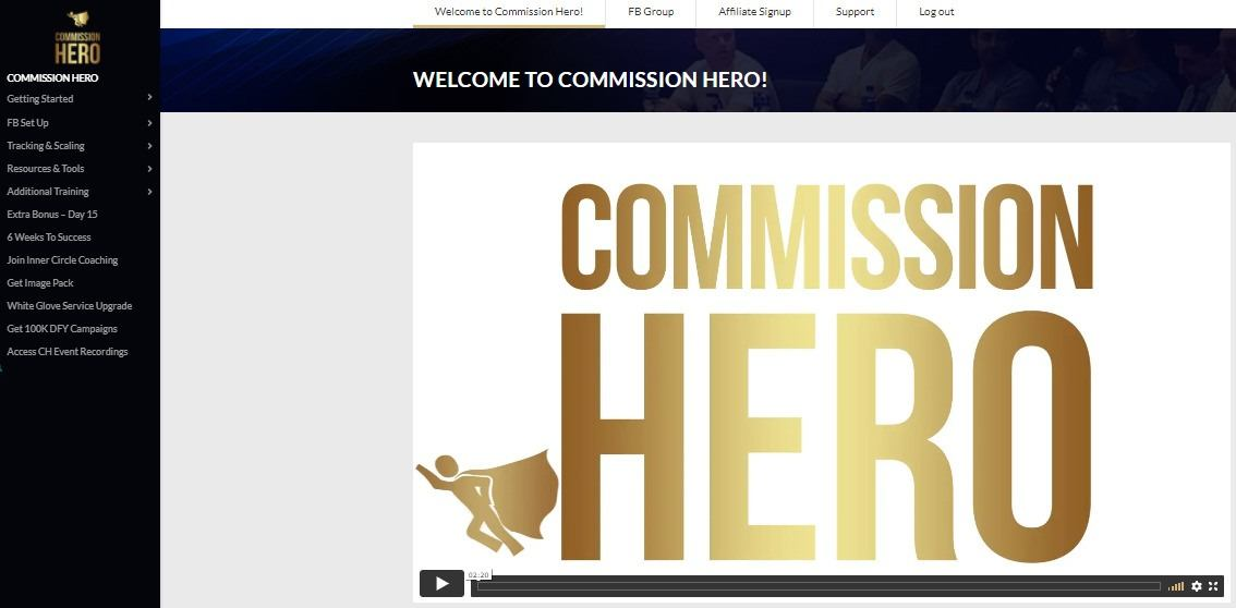 Commission Hero Course Dashboard